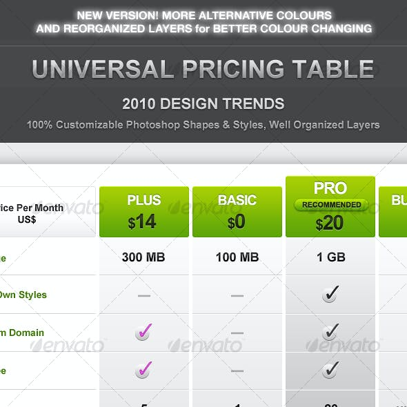 Super Clean Universal Pricing Table