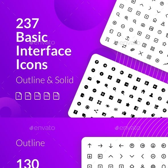 Basic Interface Icon (Outline and Solid)