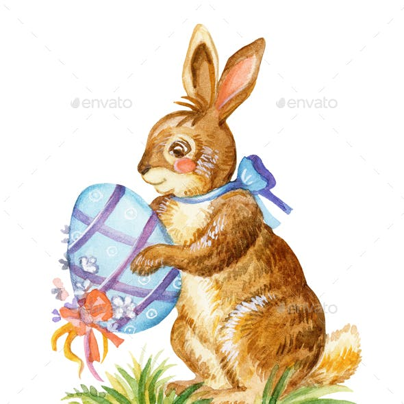 Rabbit watercolor illustration 8