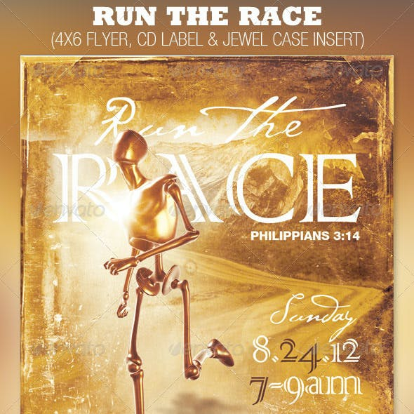 Run the Race Church Flyer and CD Template