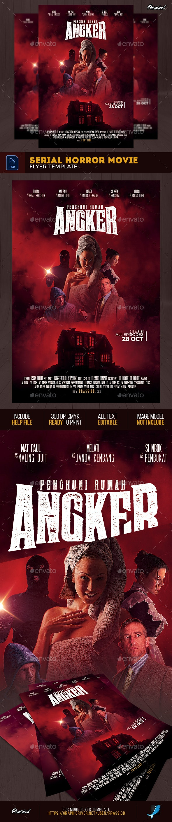 Serial Horror Movie Flyer Template - Flyers Print Templates