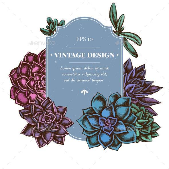 Badge Design with Colored Succulent Echeveria