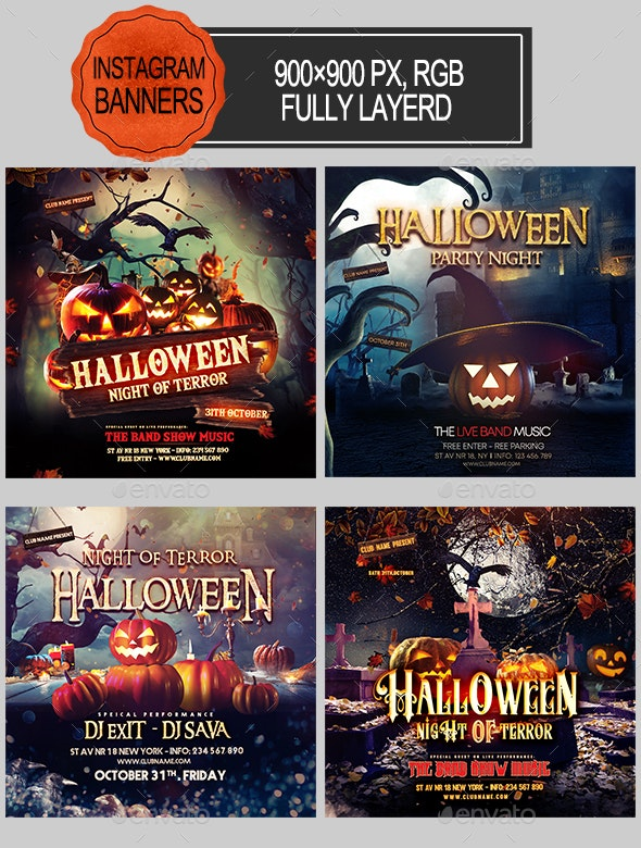 Halloween Instagram Banners - Banners & Ads Web Elements