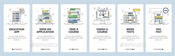 Online Courses and Tests - Web Elements Vectors