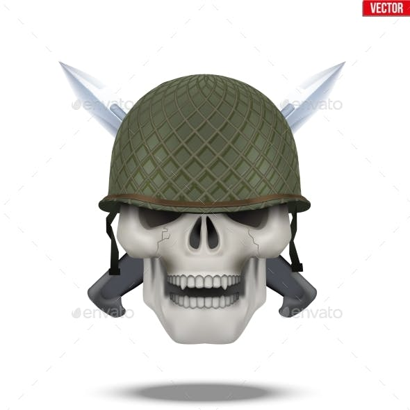 Skull with Military Helmet and Knife