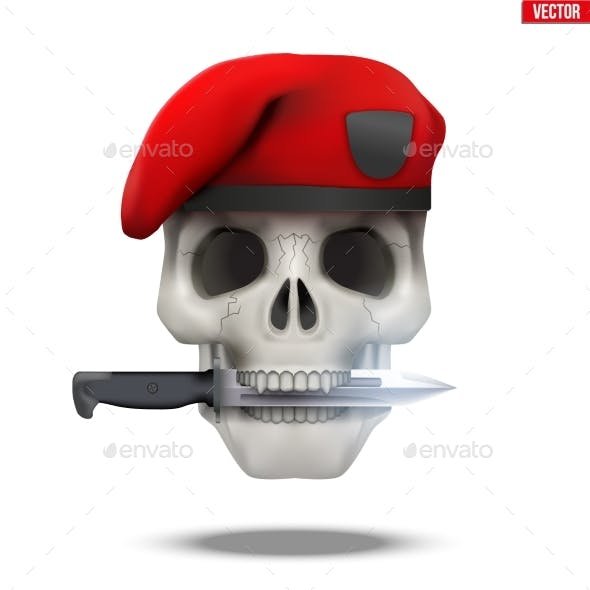 Skull with Military Beret and Knife