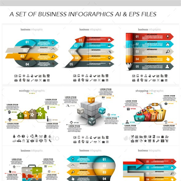 Infographics of Business, Ecommerce, ecology and online shopping