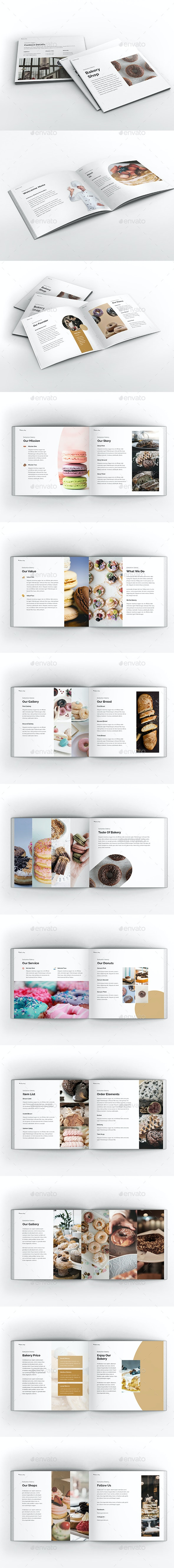 Bakery Square Brochure Template - Brochures Print Templates