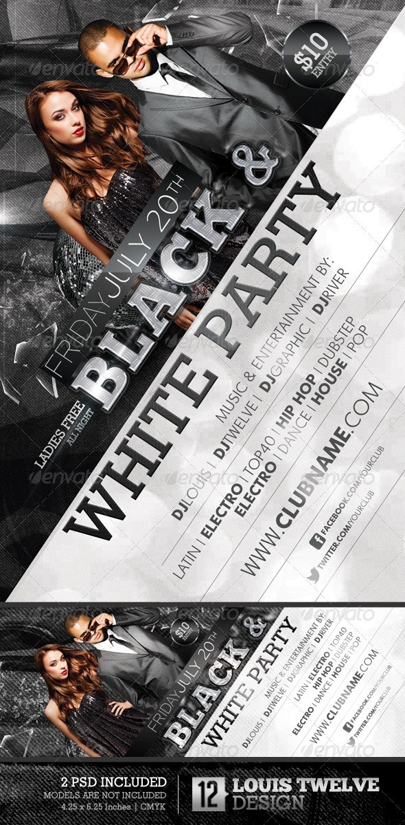 Black and White Party Flyer + Facebook Timeline - Clubs & Parties Events