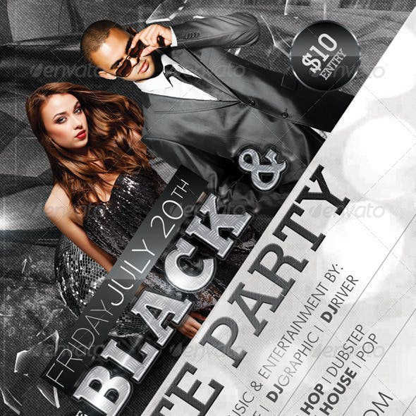 Black and White Party Flyer + Facebook Timeline