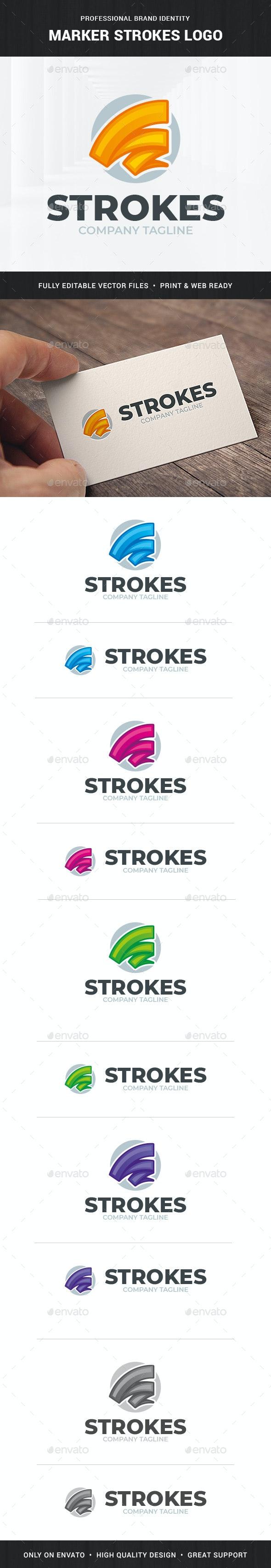 Marker Strokes Logo Template - Abstract Logo Templates