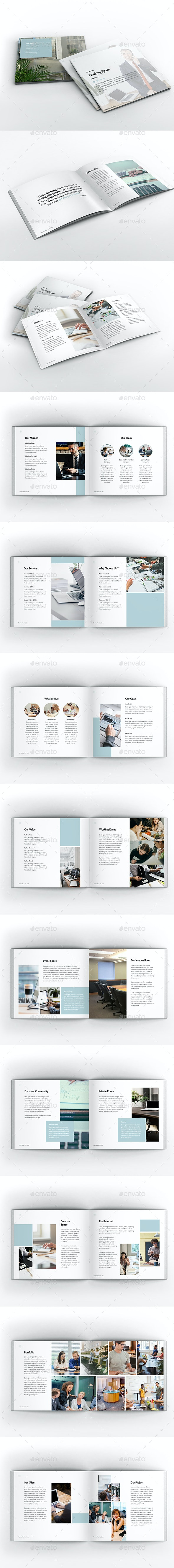 Working Space Square Brochure Template - Brochures Print Templates