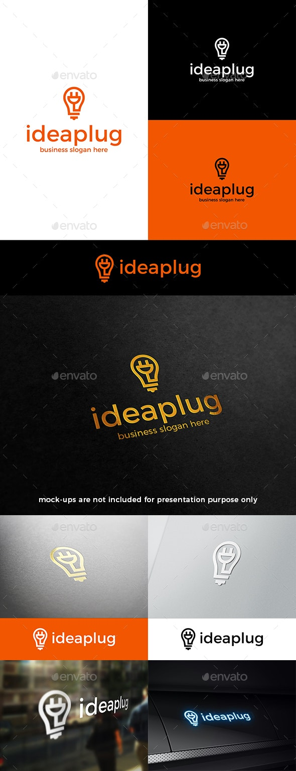 Plug Idea Logo Electric Cable and Light Bulb - Objects Logo Templates