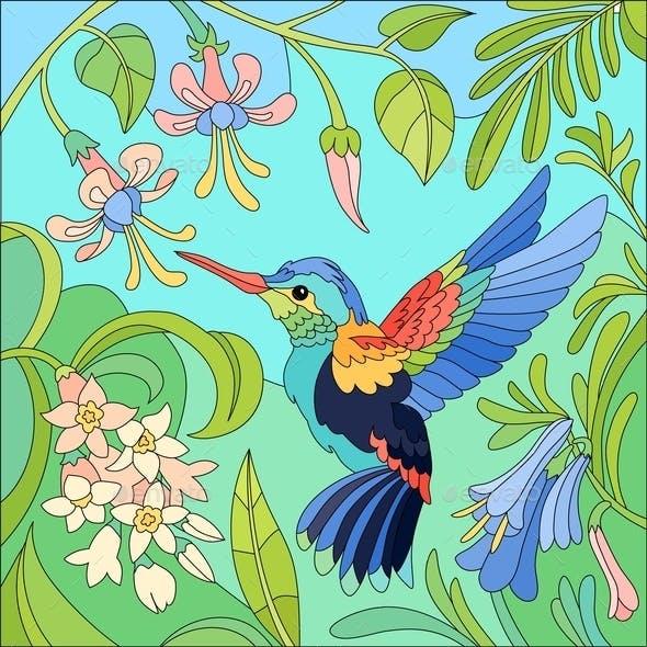 Tropical Bird Colibri Composition