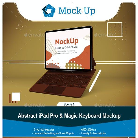 Abstract iPad Pro & Magic Keyboard Mockup