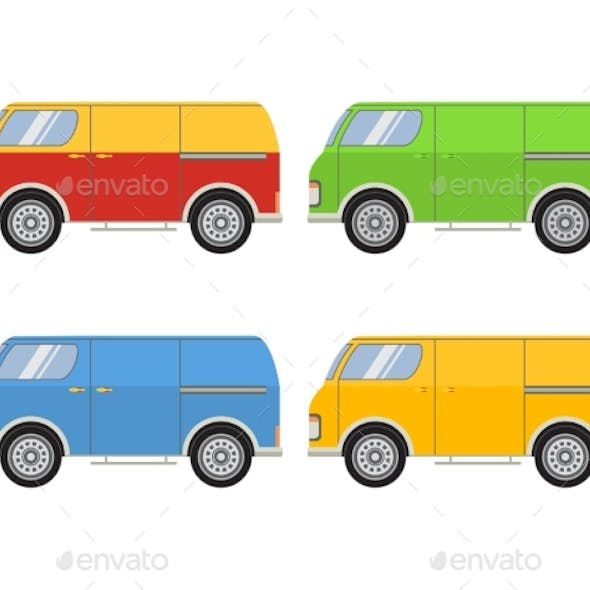 Vector Flat with the Image of the Tourist Van