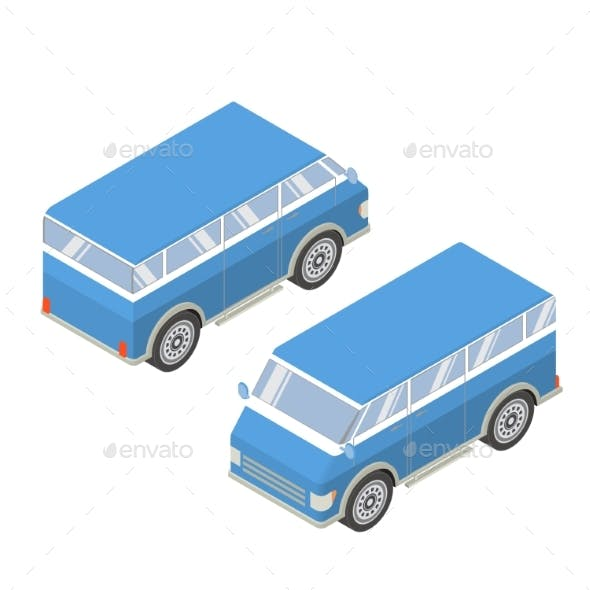 Vector Isometric with the Image of the Tourist Van