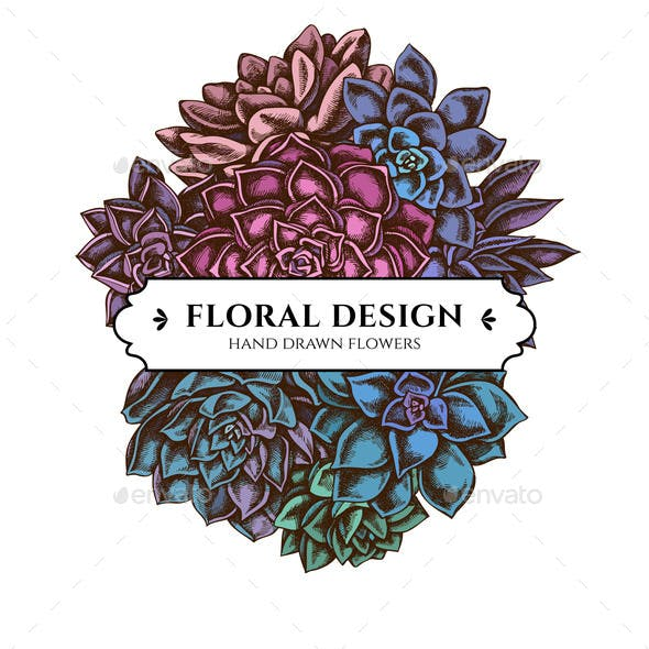 Floral Bouquet Design with Colored Succulent