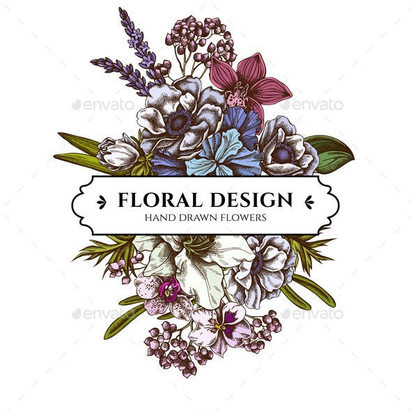 Floral Bouquet Design with Colored Anemone