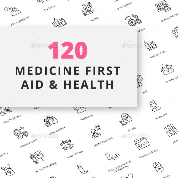 Medicine First Aid and Health Outline Icons