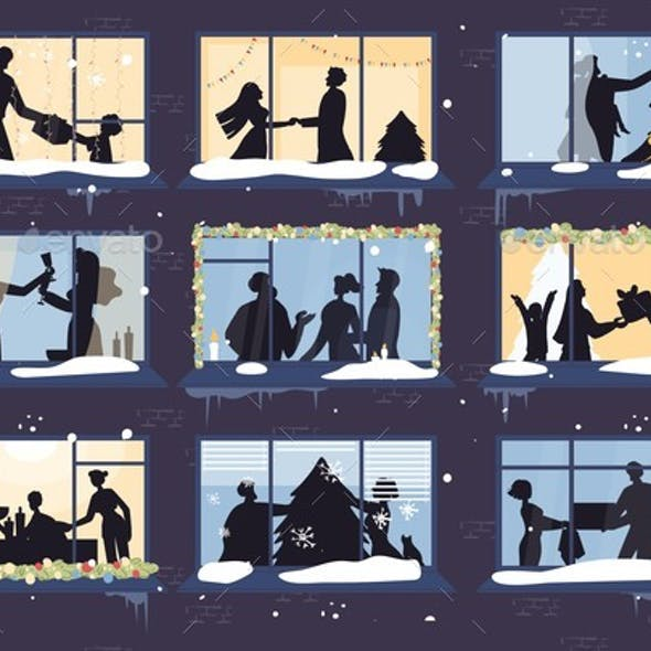 Christmas Window with Happy Family Silhouette