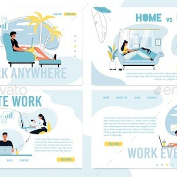 Remote Freelance Work Vs Office Job Occupation Set