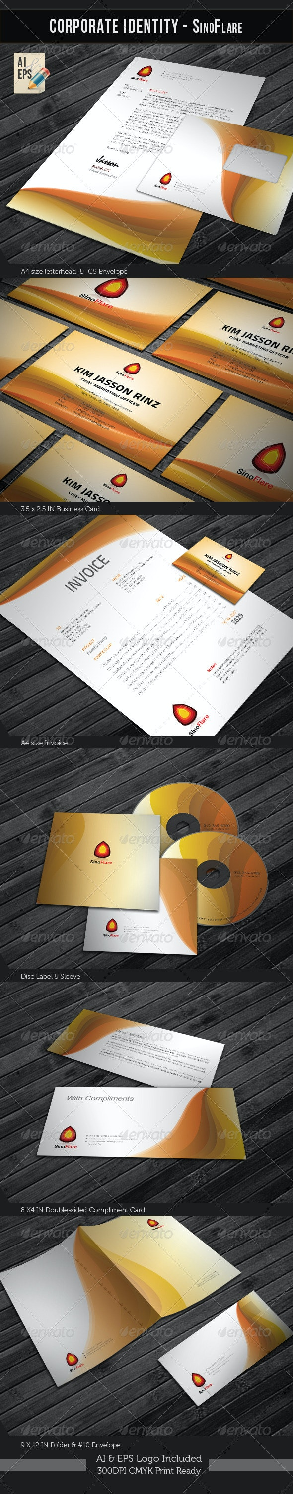 Corporate Identity Package - Sino Flare - Stationery Print Templates