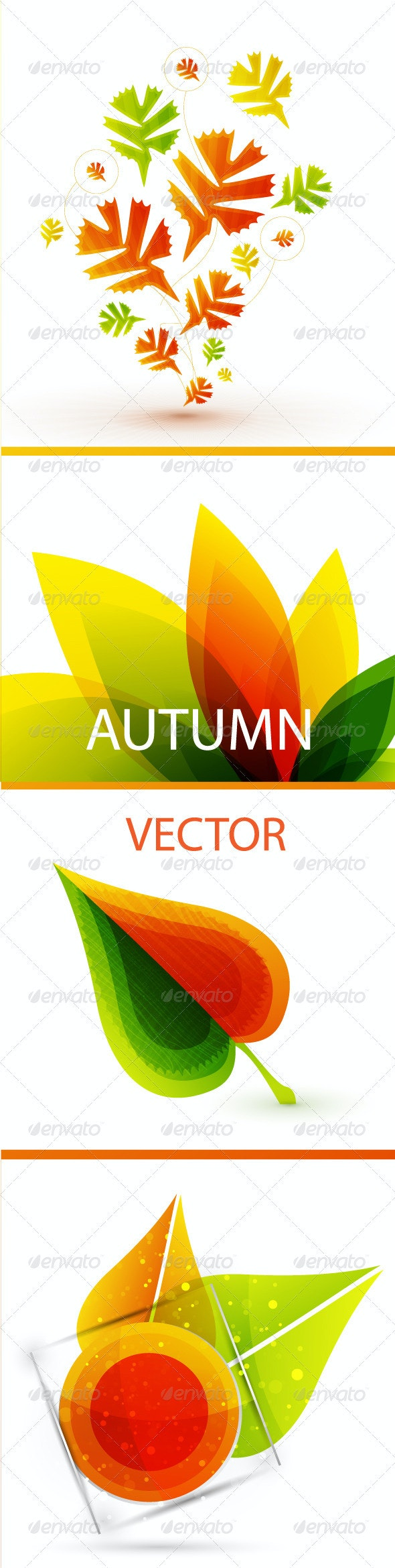 Autumn Leaves Nature Vector Pack - Backgrounds Decorative