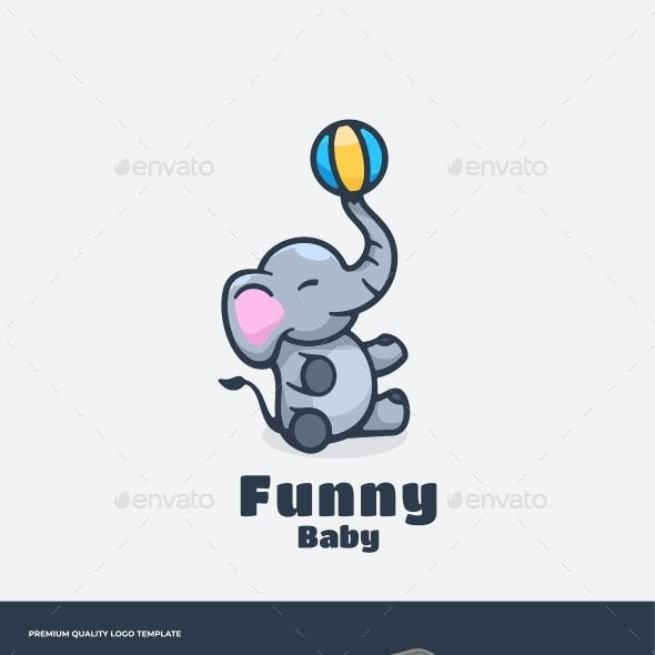 Elephant Mascot Cartoon Logo Template