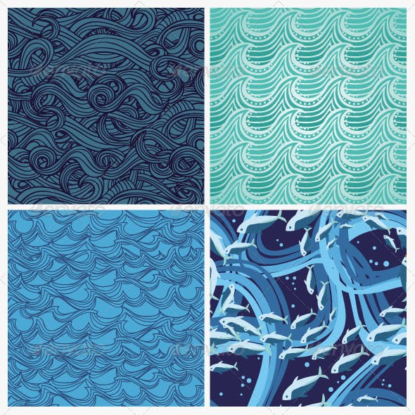 Set Of Vector Seamless Pattern With Waves
