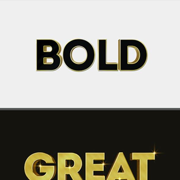Modern Gold 3D Text Effect Mockup