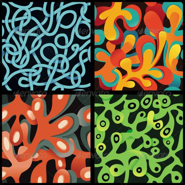 Set Of Vector Psychedelic Seamless Patterns
