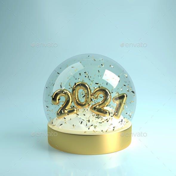 Christmas Snow Globe with Gold Inscription 2021
