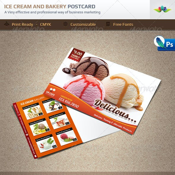 Ice Cream Shop and Bakery Marketing Postcard
