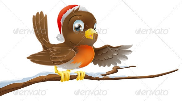 Christmas Robin on Snowy Branch - Characters Vectors