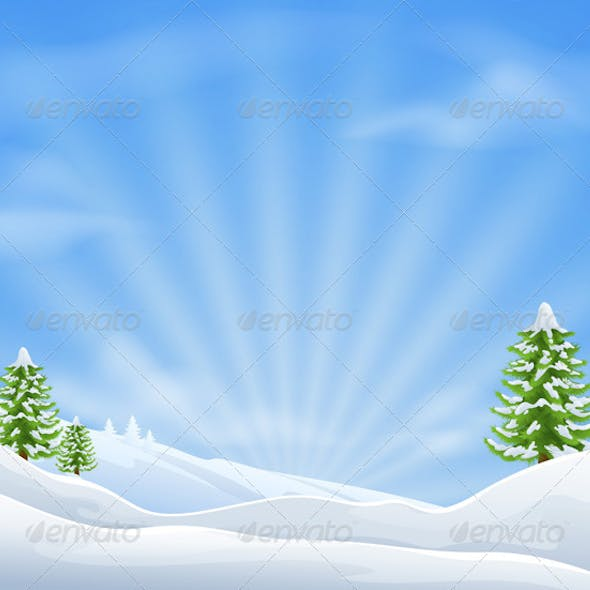 Christmas snow landscape background