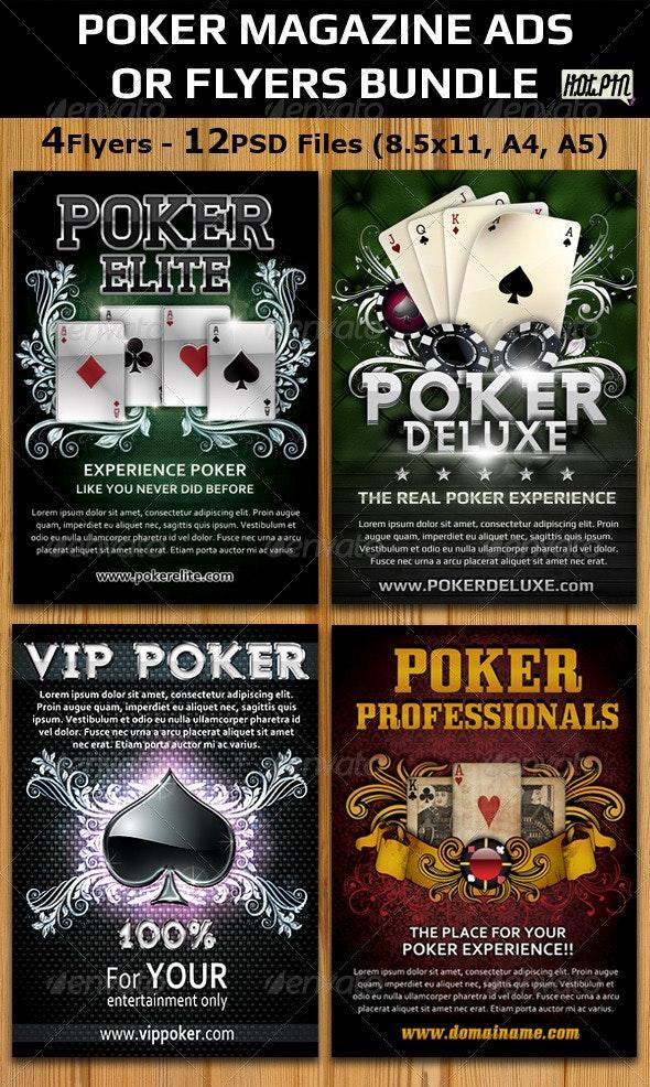 Poker Magazine Ads-Flyers Template Bundle - Flyers Print Templates