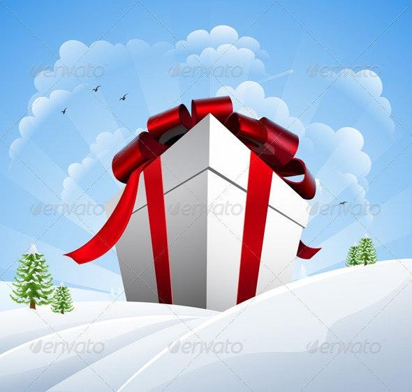 Huge Christmas Present in Snow - Christmas Seasons/Holidays