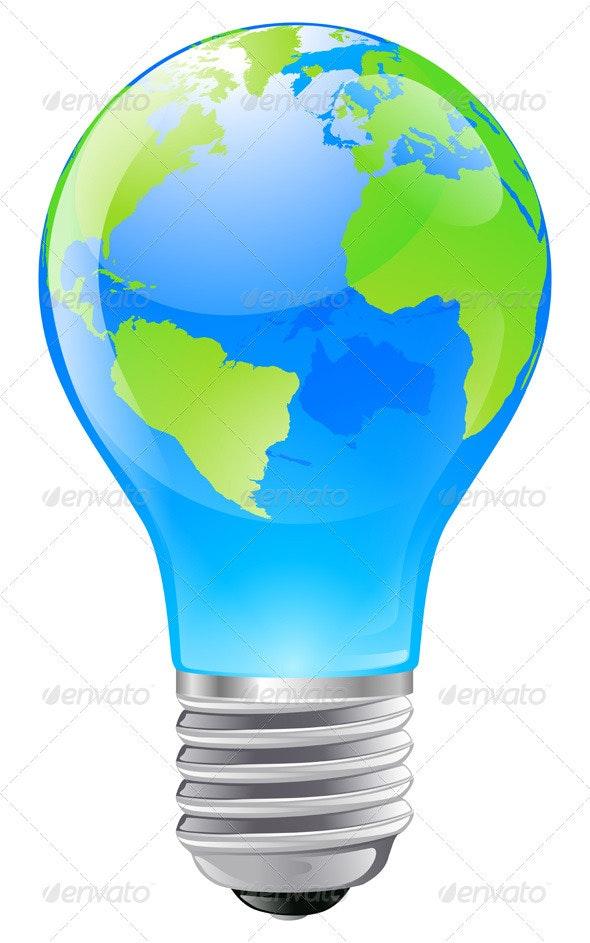 World globe light bulb concept - Conceptual Vectors