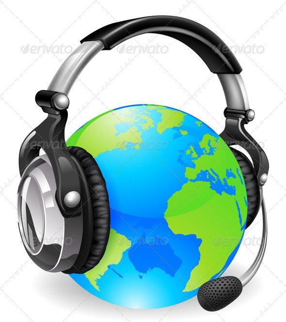 Help desk headset world globe - Communications Technology