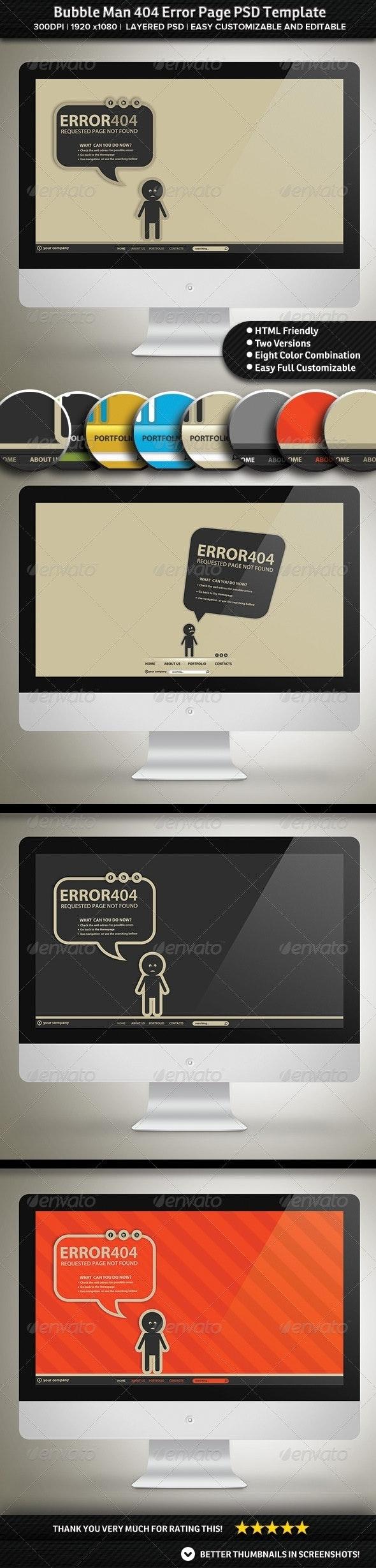 Bubble Man 404 Error Page PSD Template - 404 Pages Web Elements