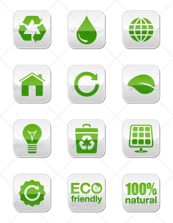 Green eco glossy square buttons set