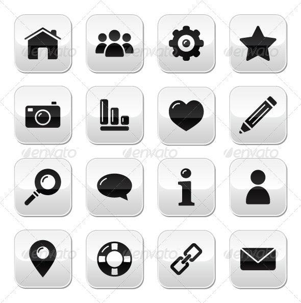 Website navigation buttons set - Characters Vectors