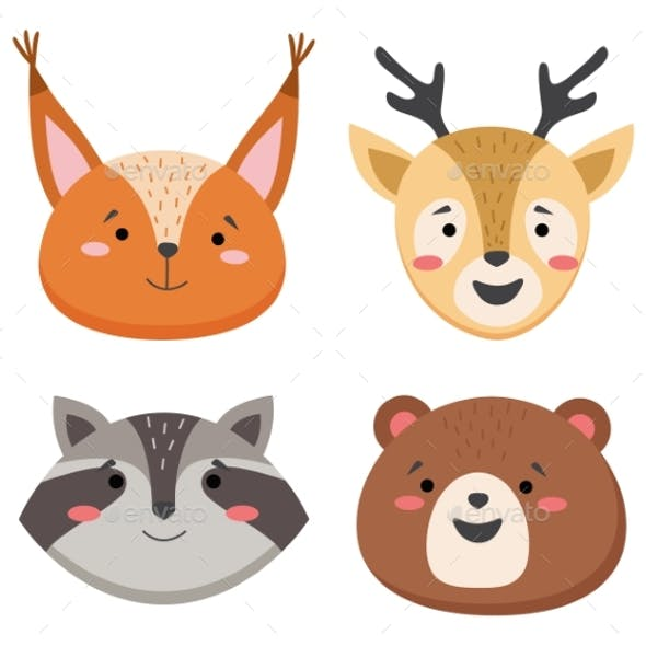 Cartoon Avatar of the Cute Wild Animals Collection