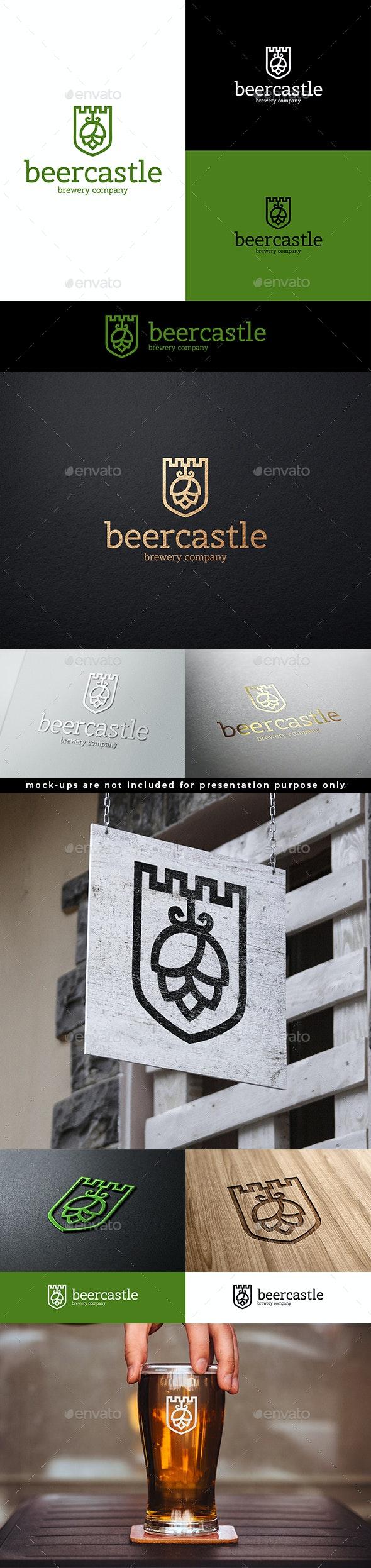 Beer Hop Logo Beer Castle Shield Logo Template - Objects Logo Templates