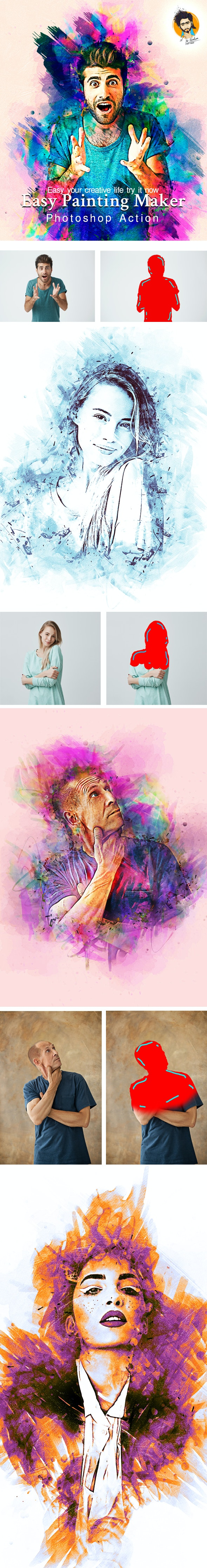 Easy Painting Maker Photoshop Action - Actions Photoshop