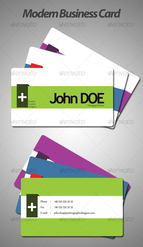 3 Color & Colorable Modern Business Card - Corporate Business Cards