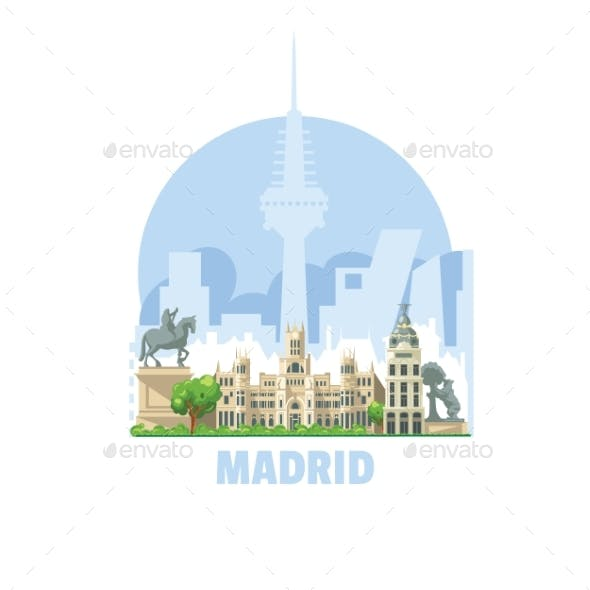 Madrid City Skyline, Spain. One of the Most