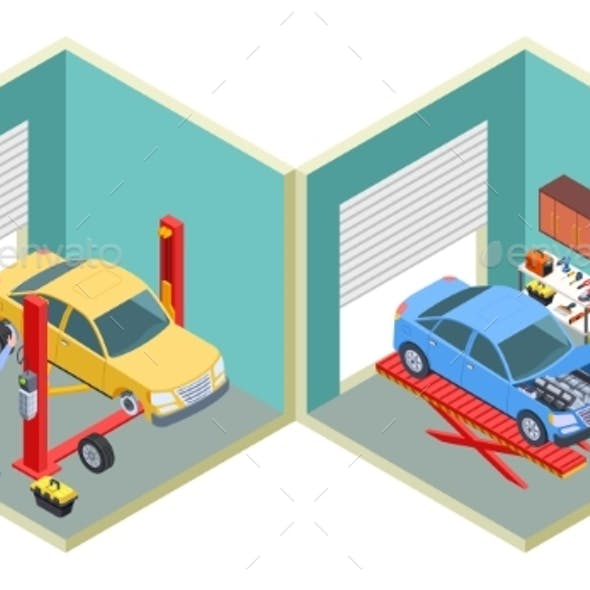 Car Service Isometric. People Repair Cars with
