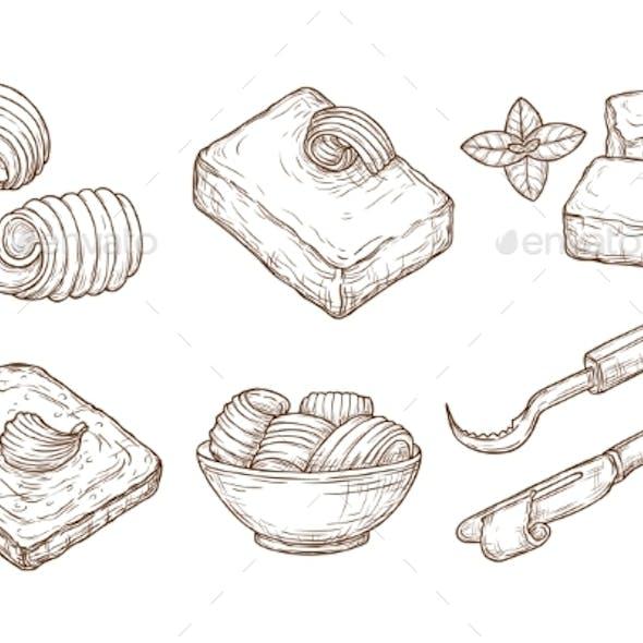 Sketch Butter. Closeup Cutting Margarine Block